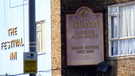 Truman beers and ales sign, at Chrisp Street Market, Poplar