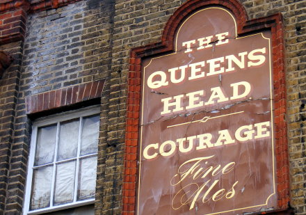 A pub in Vauxhall advertising Courage fine ales