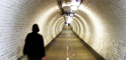 Heading towards the Union through the Greenwich foot tunnel.