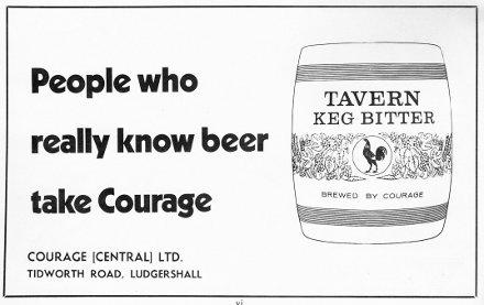 1968 advert for kegged Courage bitter.